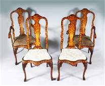 A GOOD PAIR OF 18TH CENTURY DUTCH MARQUETRY ARMCHAIRS