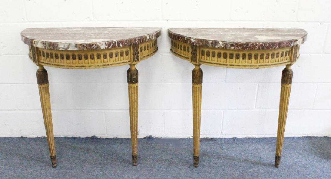 A GOOD PAIR OF GEORGE III DEMILUNE CONSOLE TABLE, with