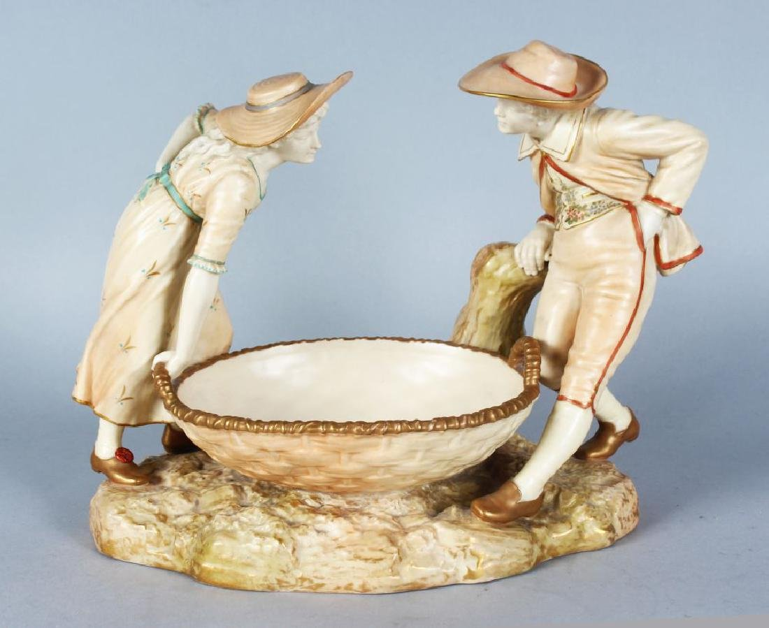 A GOOD HADLEY'S ROYAL WORCESTER OVAL BASKET, with a