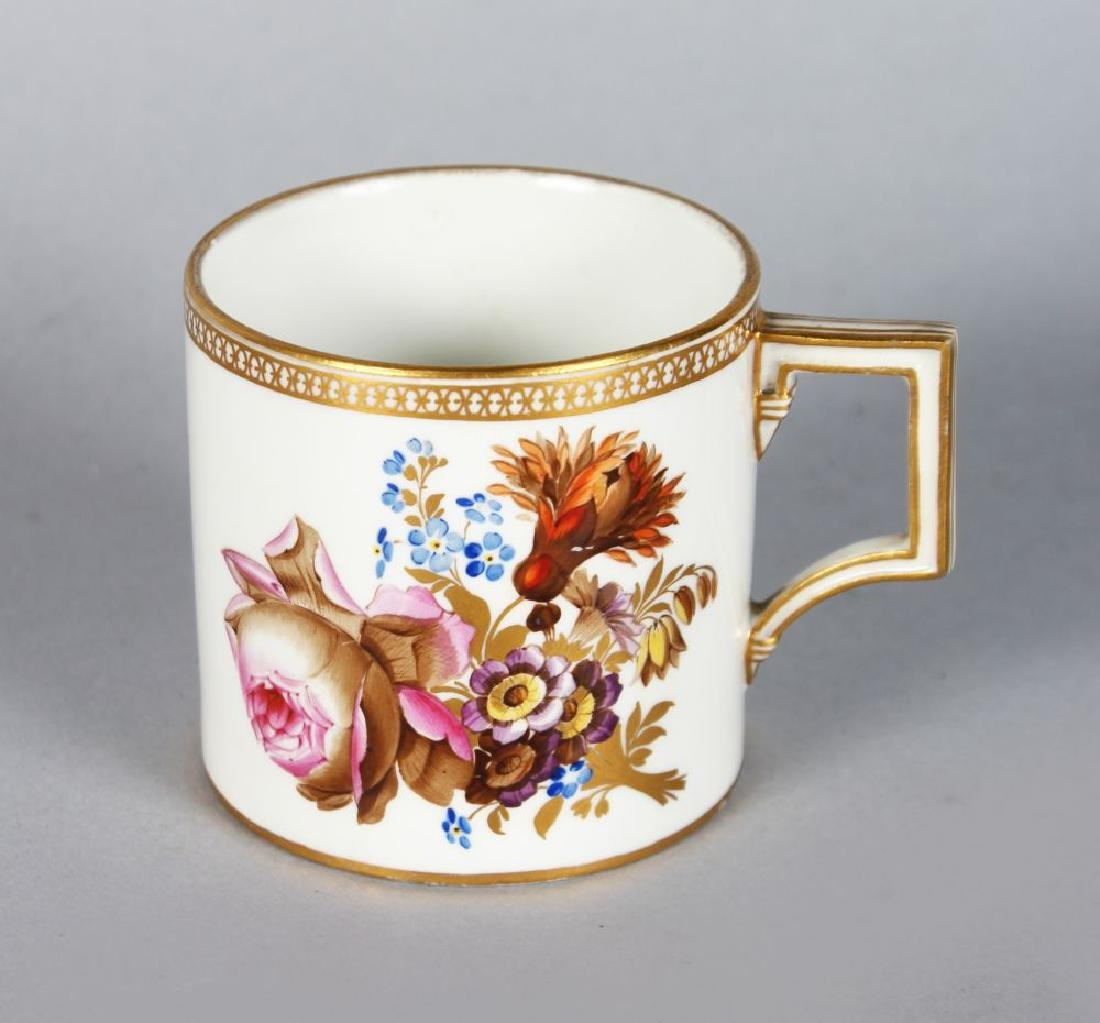A GOOD MEISSEN COFFEE CAN, white ground and edged in