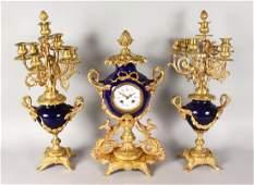 A GOOD LOUIS XVI BLUE PORCELAIN AND ORMOLU CLOCK