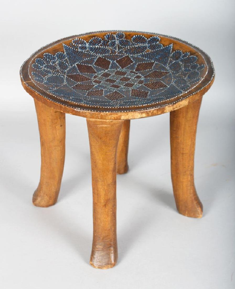 AN EARLY 20TH CENTURY FOUR LEGGED KAMBA KENYAN STOOL,