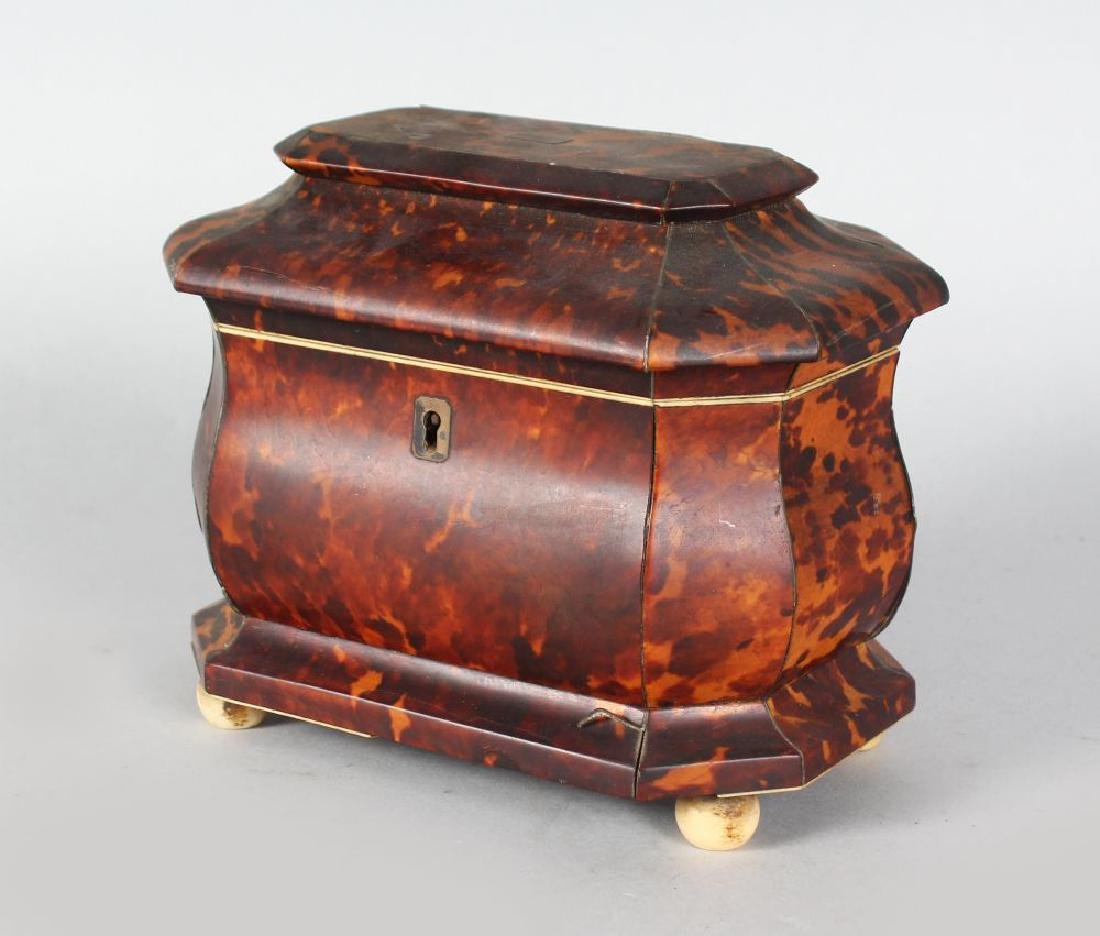 A VERY GOOD REGENCY TORTOISESHELL TWO-DIVISION TEA