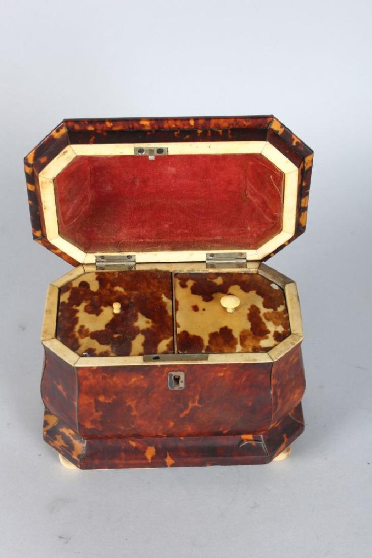 A VERY GOOD REGENCY TORTOISESHELL TWO-DIVISION TEA - 2