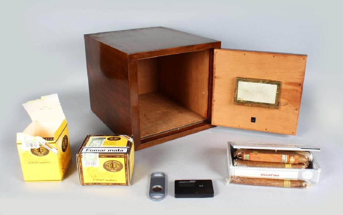 A DUNHILL CABINET CIGAR HUMIDOR IN FLAME