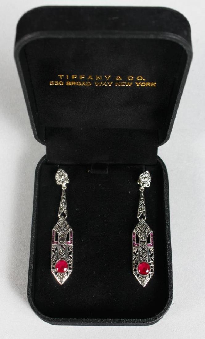 A PAIR OF SILVER ART DECO STYLE RUBY SET DROP EARRINGS.