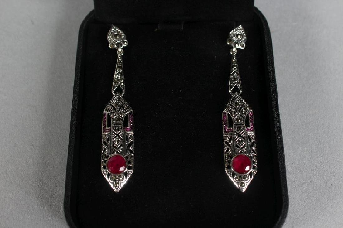 A PAIR OF SILVER ART DECO STYLE RUBY SET DROP EARRINGS. - 2