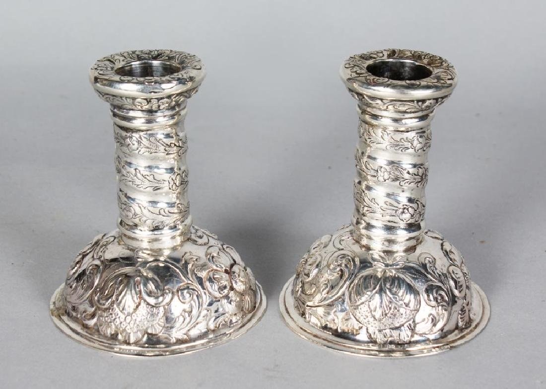 A GOOD PAIR OF VICTORIAN CIRCULAR CANDLESTICKS, with