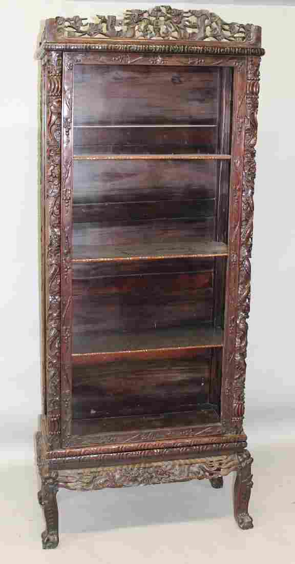 A 19TH/20TH CENTURY CHINESE CARVED HARDWOOD DISPLAY