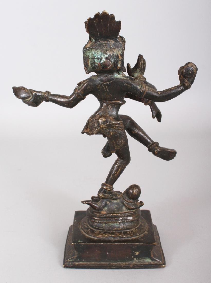 A 19TH CENTURY INDIAN BRONZE FIGURE OF SHIVA, dancing - 2
