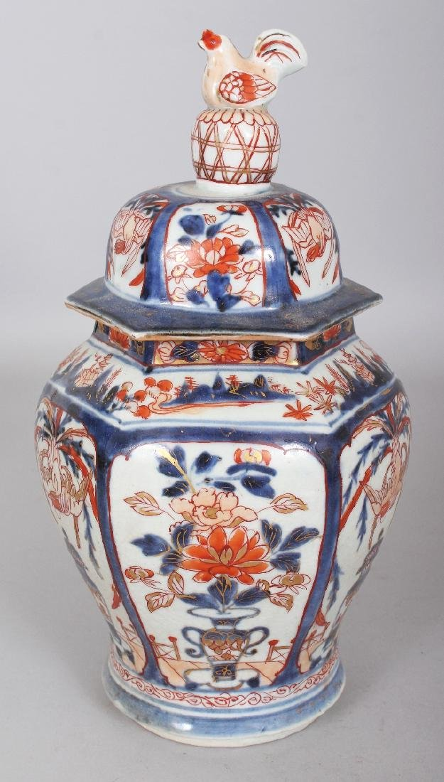A GOOD EARLY 18TH CENTURY JAPANESE IMARI HEXAGONAL