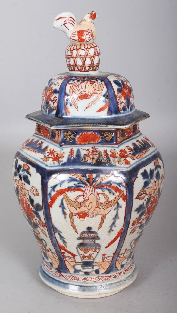 A GOOD EARLY 18TH CENTURY JAPANESE IMARI HEXAGONAL - 2