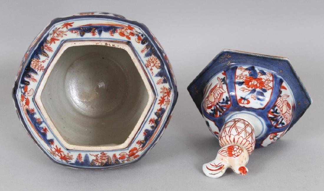 A GOOD EARLY 18TH CENTURY JAPANESE IMARI HEXAGONAL - 4