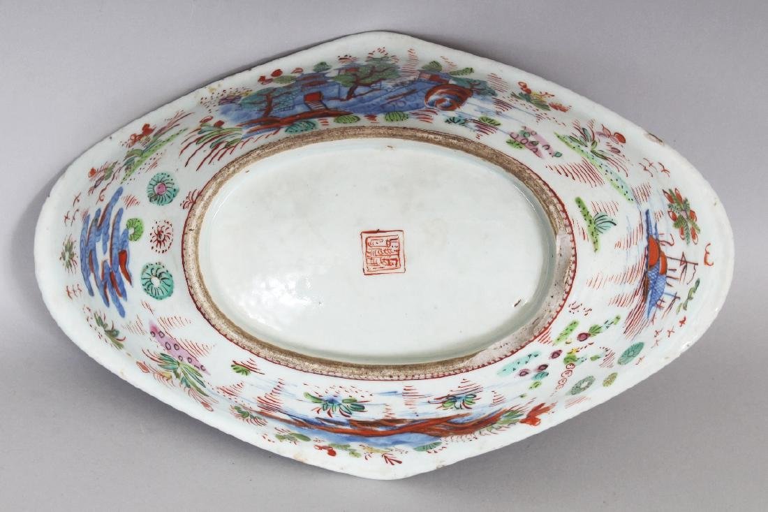 AN 18TH CENTURY CHINESE CLOBBERED SHAPED OVAL PORCELAIN - 8