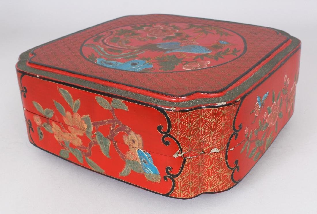 A CHINESE RED LACQUER BOX & COVER, of square form with