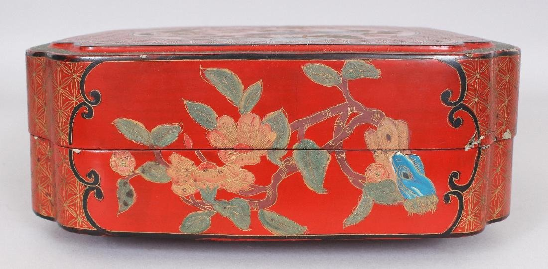 A CHINESE RED LACQUER BOX & COVER, of square form with - 2