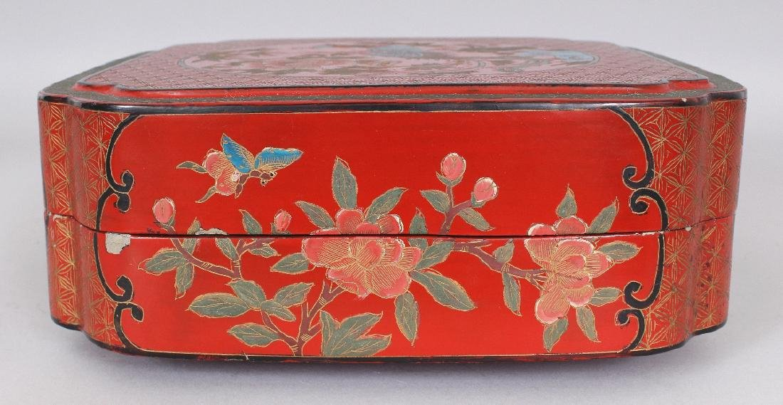 A CHINESE RED LACQUER BOX & COVER, of square form with - 3