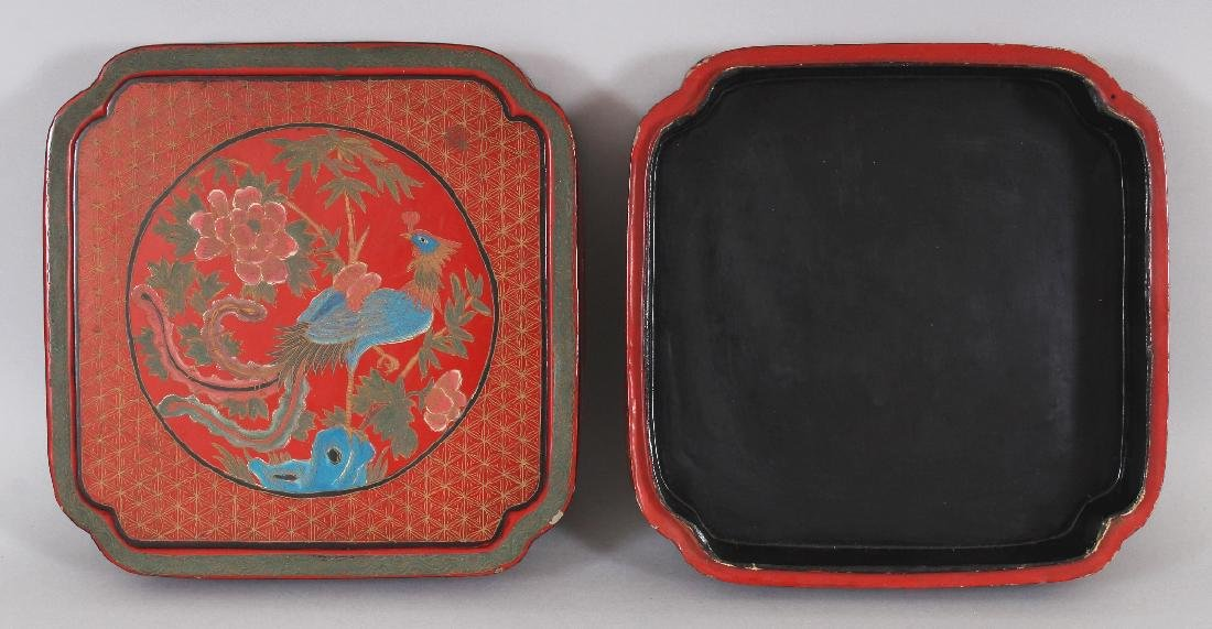 A CHINESE RED LACQUER BOX & COVER, of square form with - 4