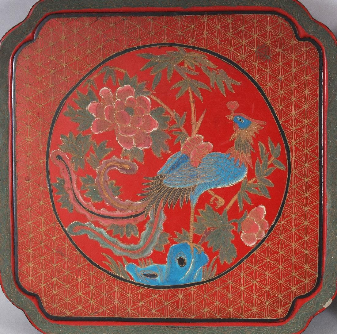 A CHINESE RED LACQUER BOX & COVER, of square form with - 5