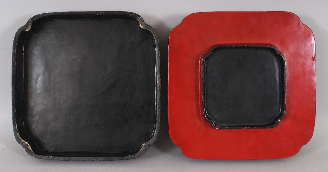 A CHINESE RED LACQUER BOX & COVER, of square form with - 6