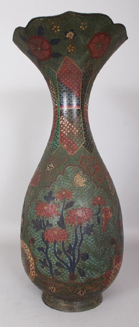 A LARGE JAPANESE MEIJI PERIOD CLOISONNE VASE, the