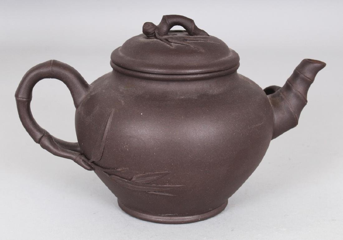A 19TH/20TH CENTURY YIXING POTTERY TEAPOT & COVER, the - 3