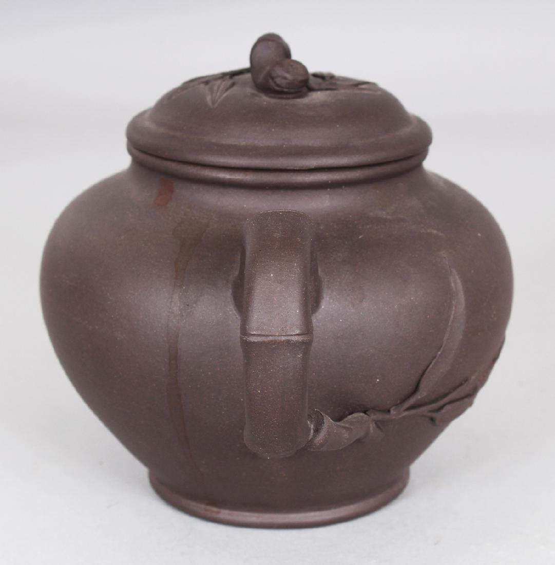 A 19TH/20TH CENTURY YIXING POTTERY TEAPOT & COVER, the - 4