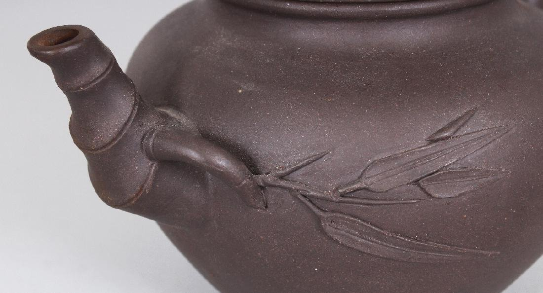 A 19TH/20TH CENTURY YIXING POTTERY TEAPOT & COVER, the - 5