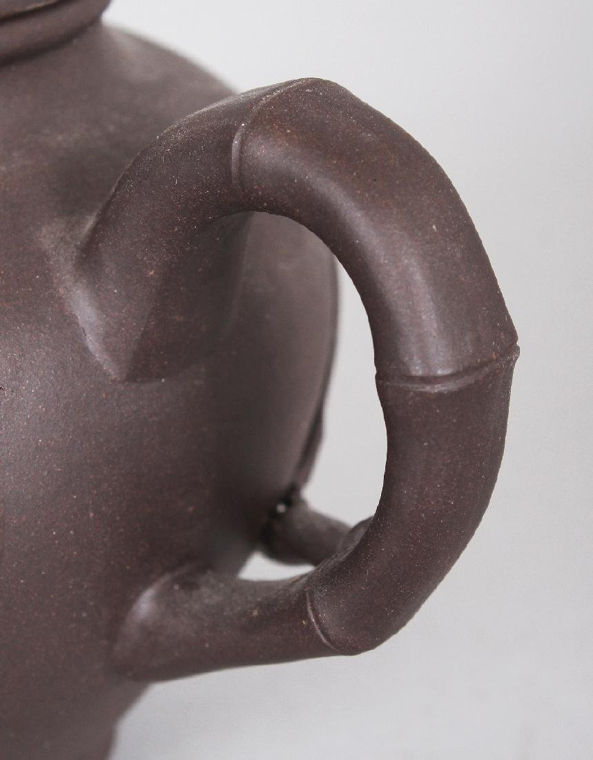 A 19TH/20TH CENTURY YIXING POTTERY TEAPOT & COVER, the - 6