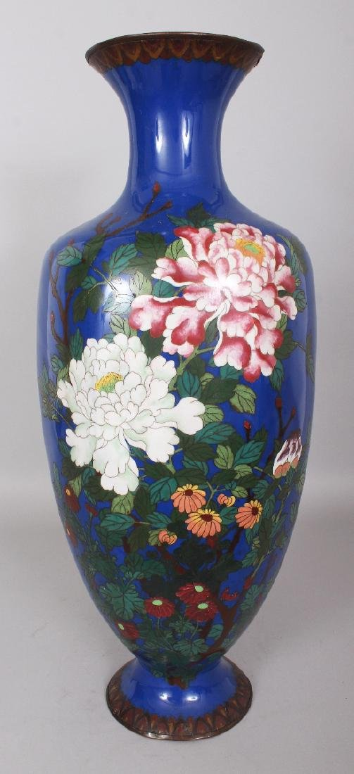 A LARGE JAPANESE MEIJI PERIOD BLUE GROUND CLOISONNE