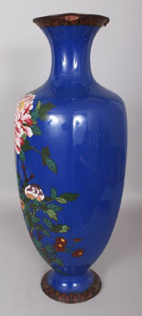 A LARGE JAPANESE MEIJI PERIOD BLUE GROUND CLOISONNE - 4