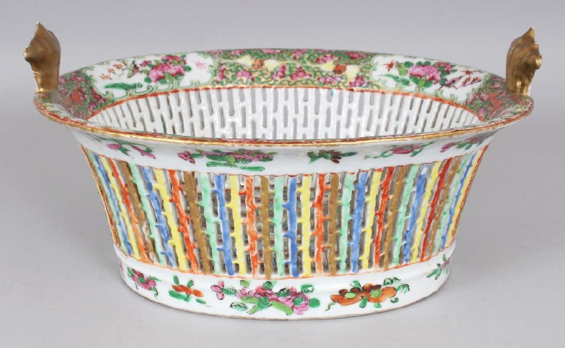 A 19TH CENTURY CHINESE CANTON OVAL PORCELAIN BASKET,