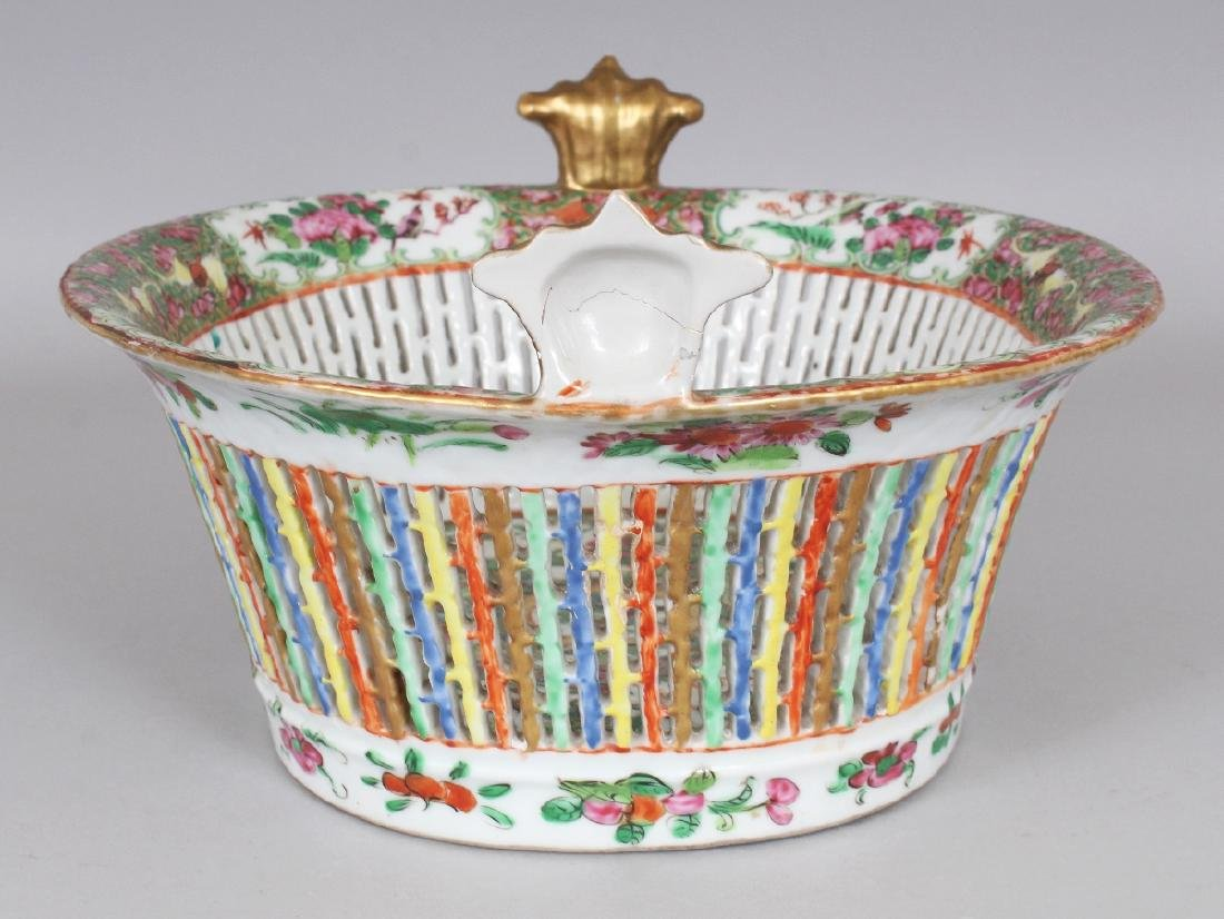 A 19TH CENTURY CHINESE CANTON OVAL PORCELAIN BASKET, - 2