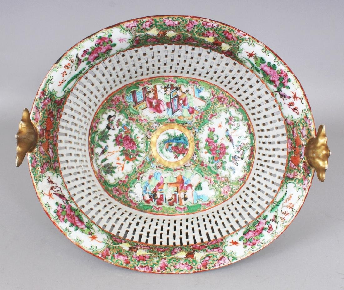 A 19TH CENTURY CHINESE CANTON OVAL PORCELAIN BASKET, - 4