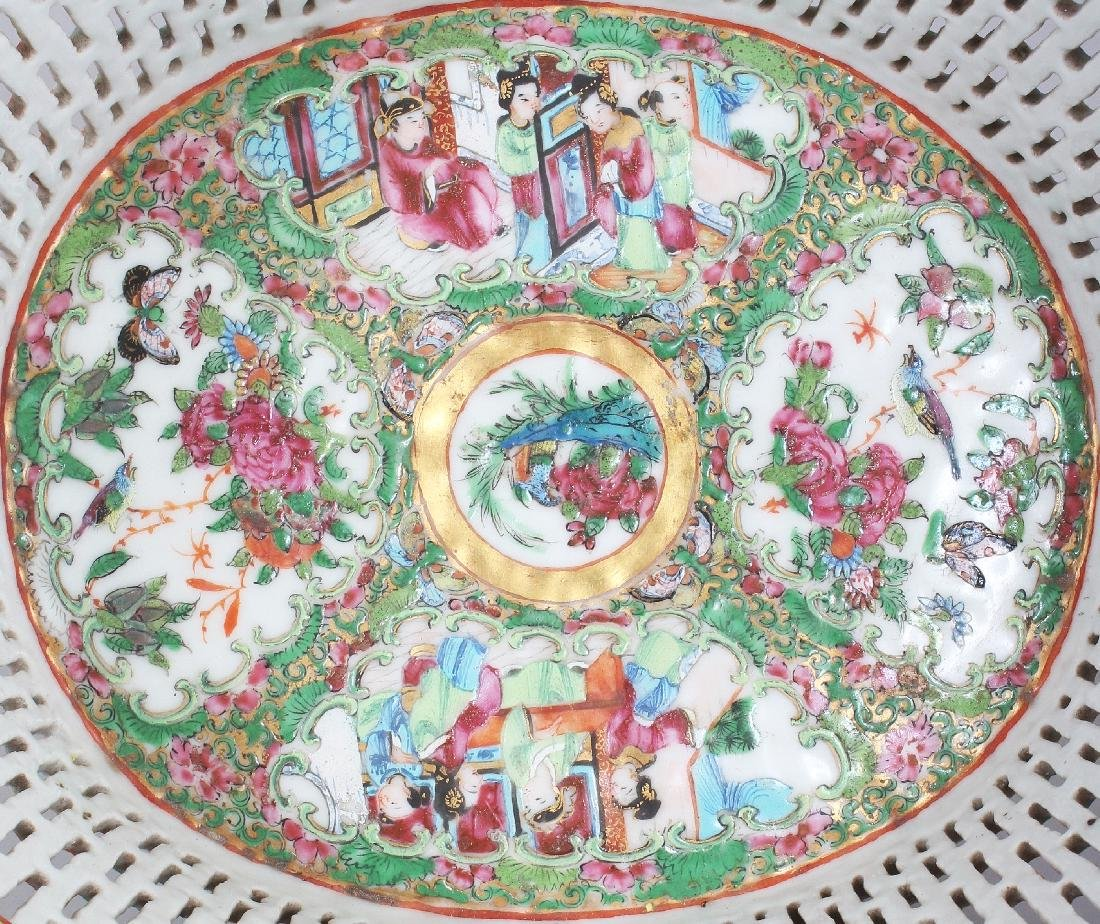 A 19TH CENTURY CHINESE CANTON OVAL PORCELAIN BASKET, - 5