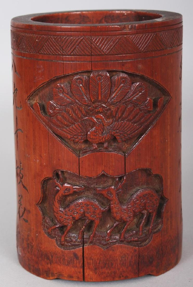 A 19TH CENTURY CHINESE CARVED BAMBOO BRUSHPOT, 3.4in