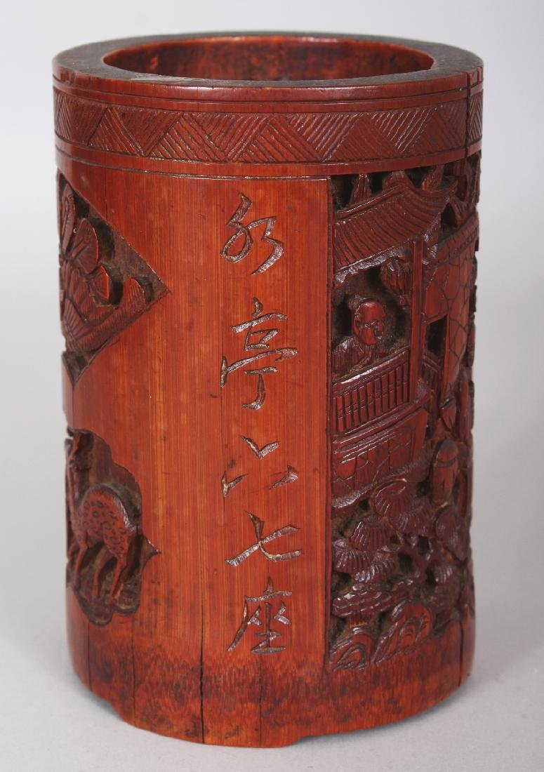 A 19TH CENTURY CHINESE CARVED BAMBOO BRUSHPOT, 3.4in - 4