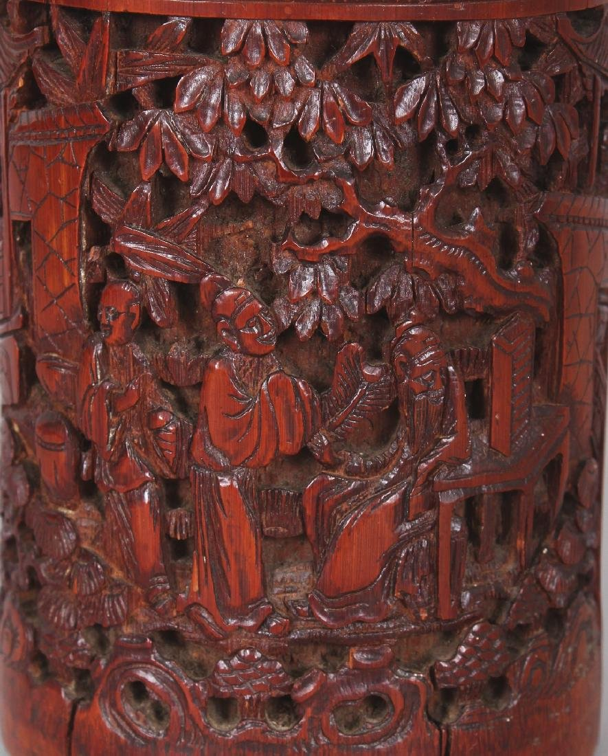 A 19TH CENTURY CHINESE CARVED BAMBOO BRUSHPOT, 3.4in - 5