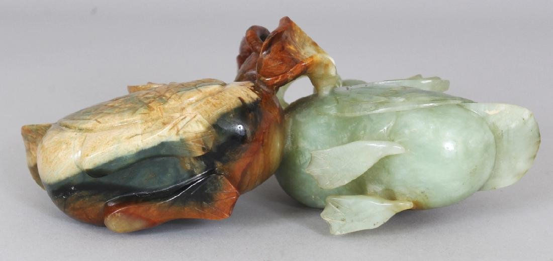 A GOOD QUALITY 20TH CENTURY CHINESE JADE MODEL OF TWO - 7