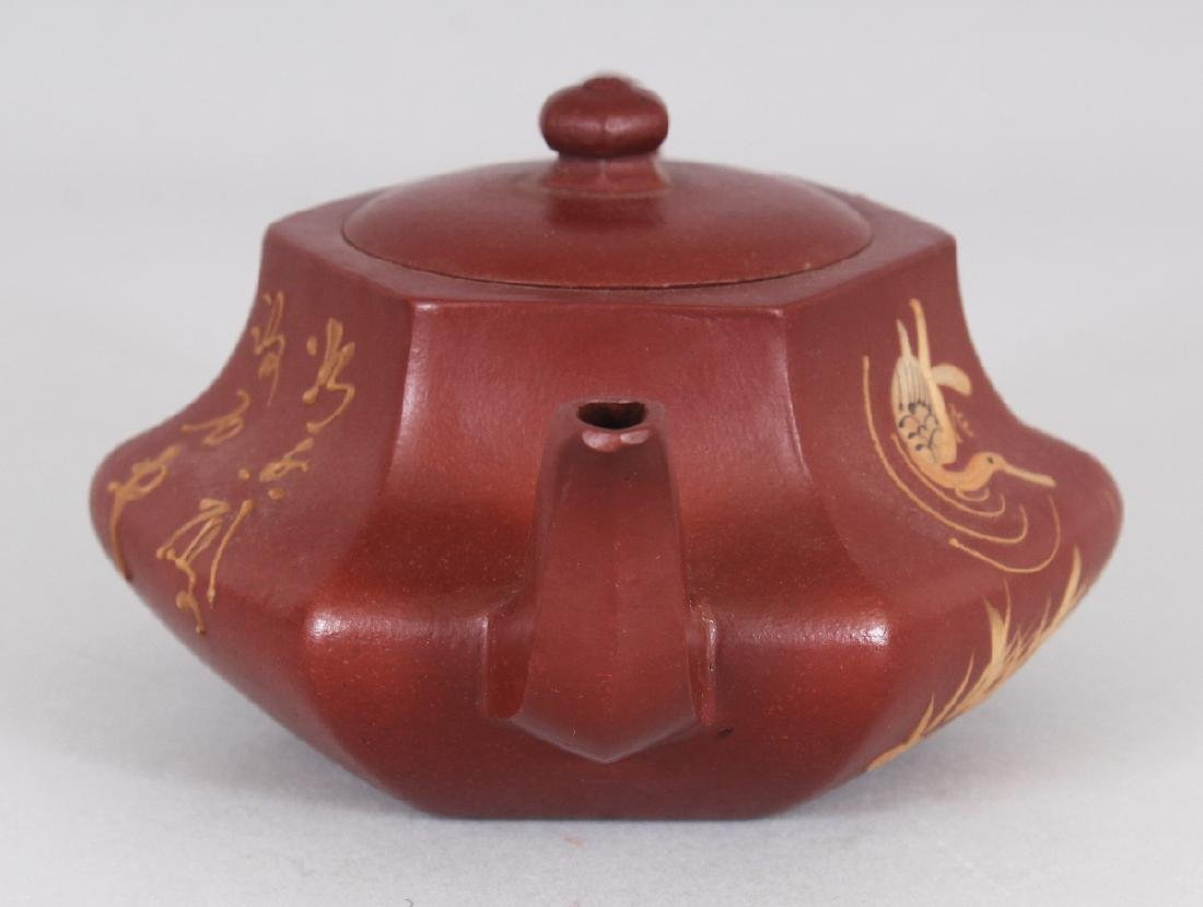 A CHINESE YIXING POTTERY SLIP DECORATED TEAPOT & COVER, - 2