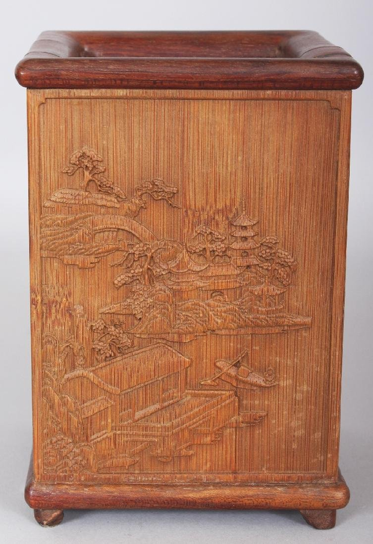 A CHINESE BAMBOO STYLE SQUARE SECTION BRUSHPOT, 4.4in