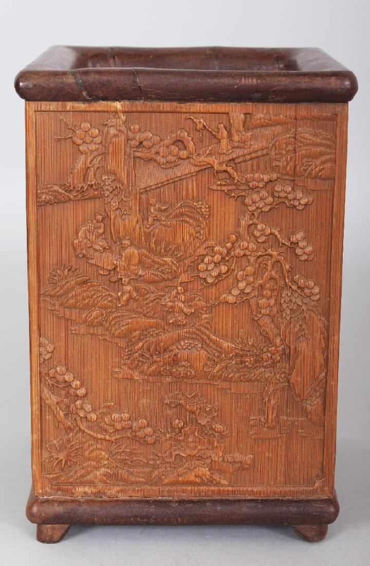 A CHINESE BAMBOO STYLE SQUARE SECTION BRUSHPOT, 4.4in - 4