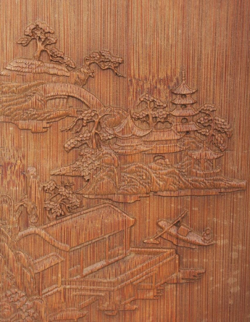 A CHINESE BAMBOO STYLE SQUARE SECTION BRUSHPOT, 4.4in - 5