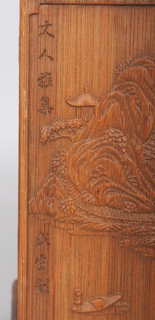 A CHINESE BAMBOO STYLE SQUARE SECTION BRUSHPOT, 4.4in - 6