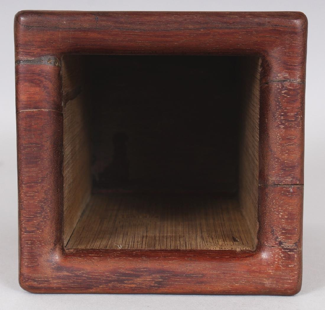 A CHINESE BAMBOO STYLE SQUARE SECTION BRUSHPOT, 4.4in - 7