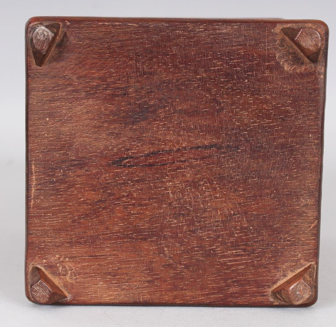 A CHINESE BAMBOO STYLE SQUARE SECTION BRUSHPOT, 4.4in - 8