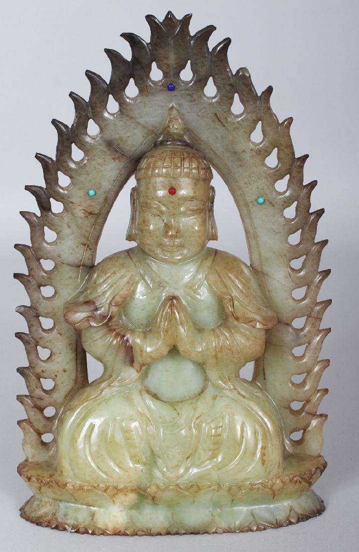 A CHINESE CELADON HARDSTONE FIGURE OF BUDDHA, possibly