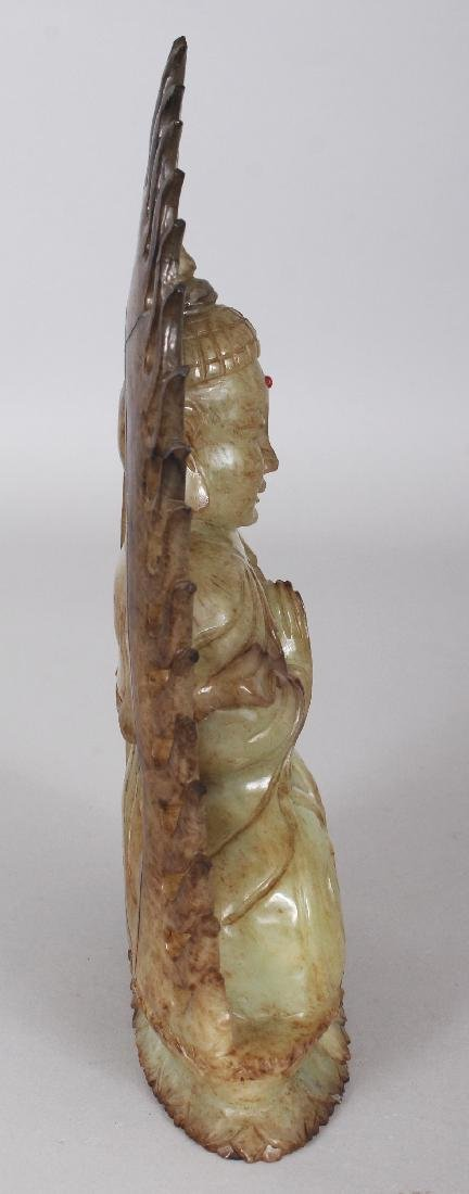 A CHINESE CELADON HARDSTONE FIGURE OF BUDDHA, possibly - 2