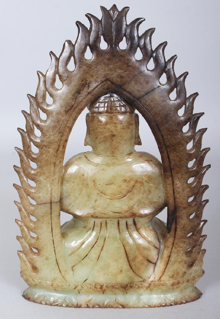 A CHINESE CELADON HARDSTONE FIGURE OF BUDDHA, possibly - 3