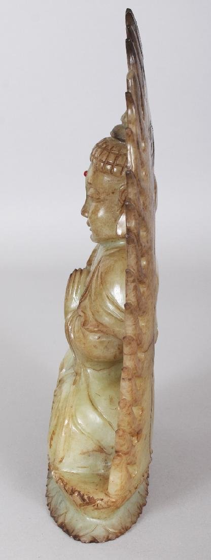 A CHINESE CELADON HARDSTONE FIGURE OF BUDDHA, possibly - 4